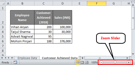 Excel status bar (Zoom Slider)