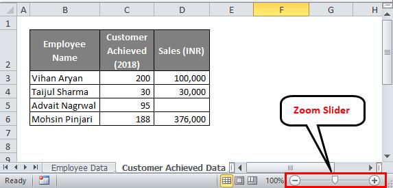 Excel status bar (Zoom Slider)