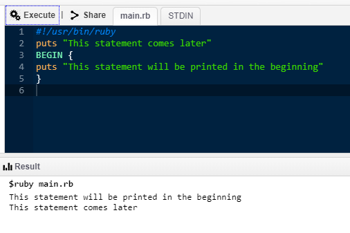 Ruby Commands -BEGIN Statement
