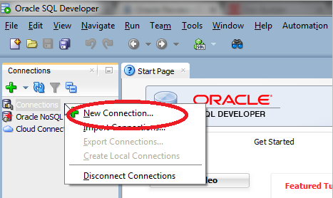 SQL Developer on New Connection