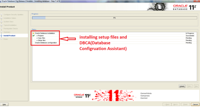 Installation of Oracle on windows Step 7