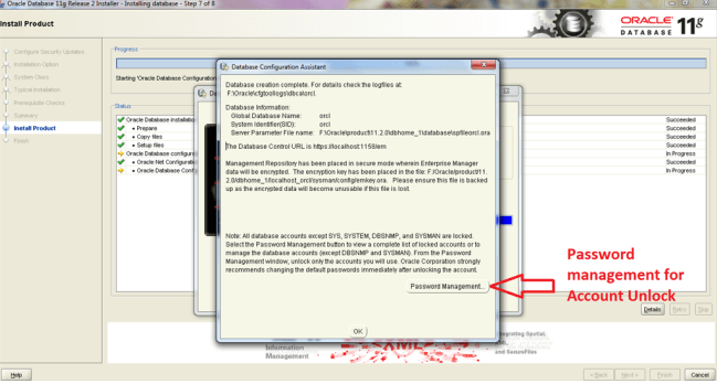Installation of Oracle on windows Step 10