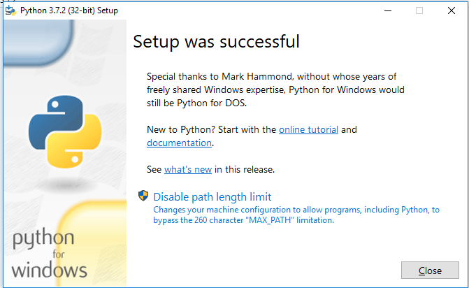 Installation of python is sucessful