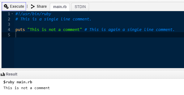 Ruby Commands -single line comment