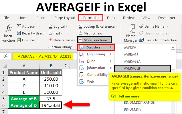 AVERAGEIF in excel