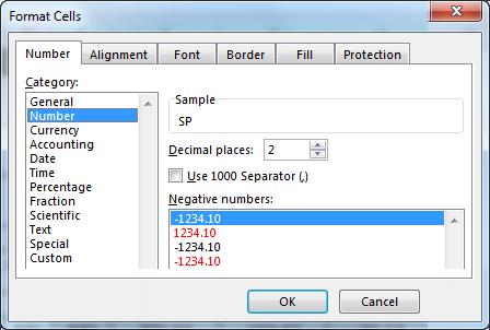 Number Formatting Dialog Box