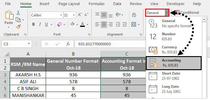 Accounting Number Format Example 3-3