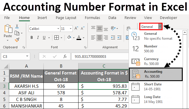 accounting number format in excel
