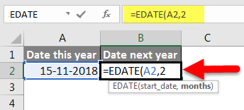 Adding Months to Dates in Excel example 1-1