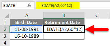 Adding Months to Dates in Excel example 3-2