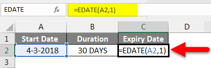 Adding Months to Dates in Excel example 4-2
