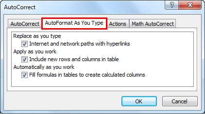 AutoCorrect example 2-1