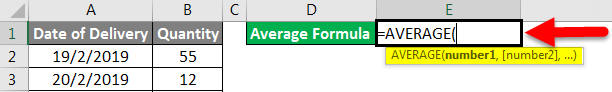 Average formula example 2-1