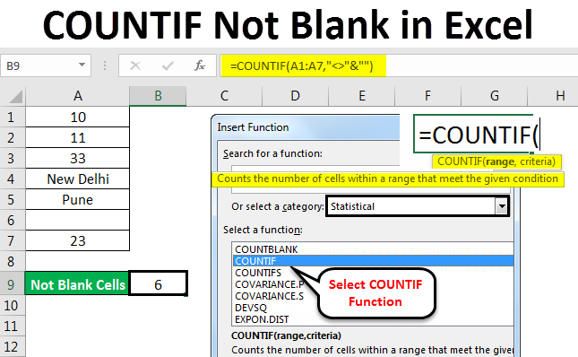 COUNTIF Not Blank in Excel | (Formula, Example) How to Use?