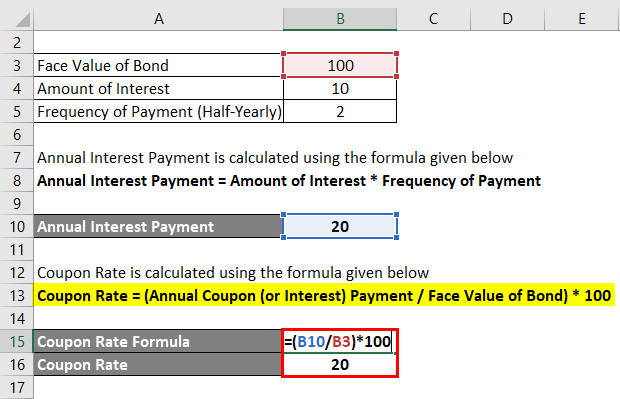 Coupon Rate Formula Calculator Excel Template