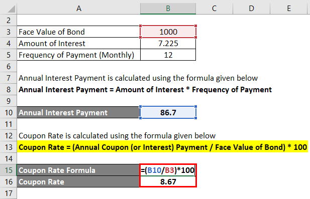 Calculation of Coupon Rate Formula 2