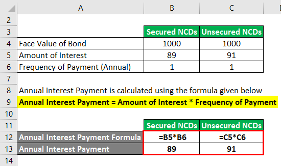 Calculation of Annual Interest Payment 3