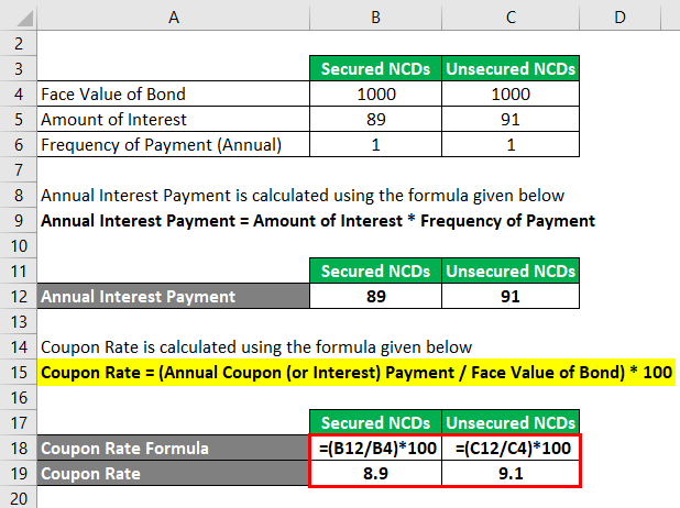 Calculation of Coupon Rate Formula 3