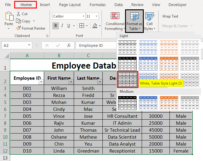 Create Excel Database 7