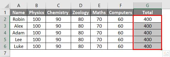 Ctrl D in Excel Example 2-5