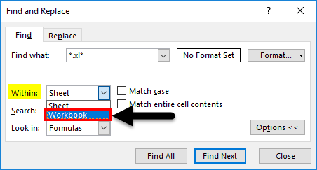 Find External Links in Excel Example 1-4