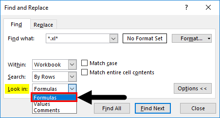 Find External Links in Excel Example 1-5