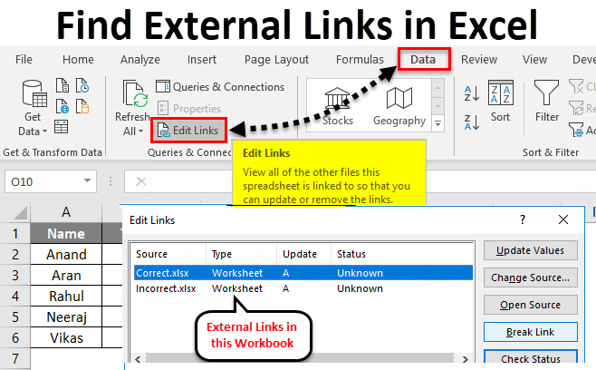 Find External Links in Excel