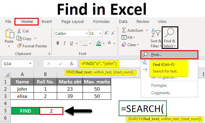 Find in excel
