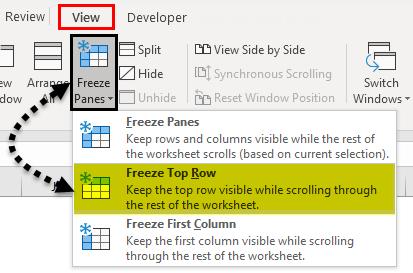 Freeze Panes example 1-5