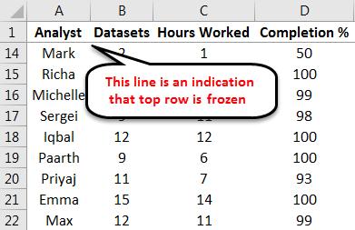 Freeze Panes example 1-6