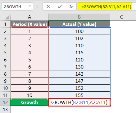 Calculate GROWTH Example 1