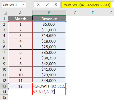 Calculate GROWTH Example 2