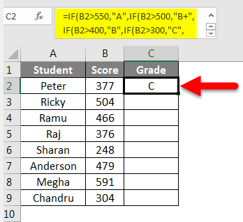 Grade Formula in Excel example 2-5