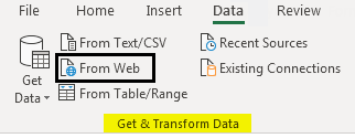 Import Data In Excel example 1-5