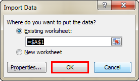 Import Data In Excel example 1-8