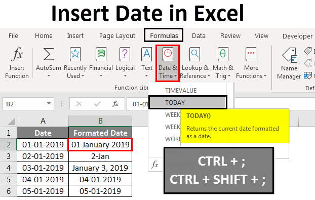 Insert date in excel