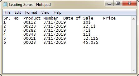 Leading Zeros Notepad