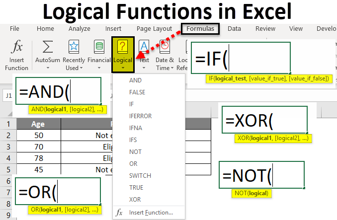 logical test in excel