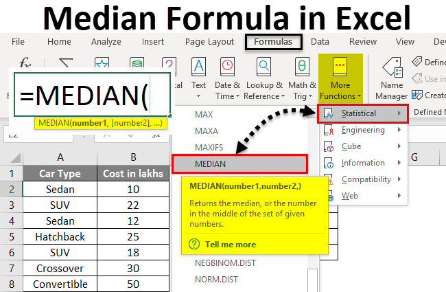 Median Formula in Excel