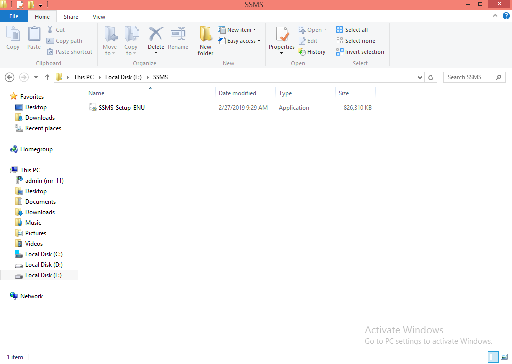SQL Server installation Step 1