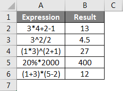 Operators in Excel example 1-3