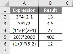 Operators in Excel example 1-3