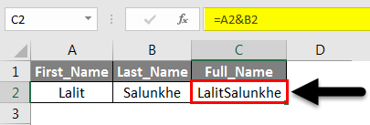 Operators in Excel example 2-2