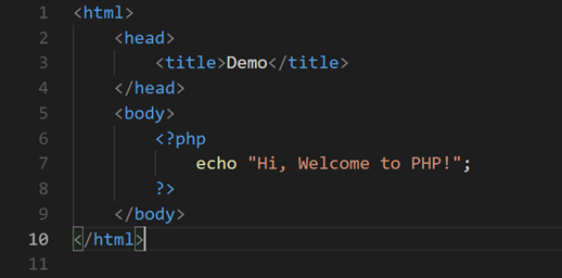 PHP code in HTML file