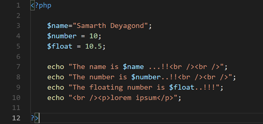 create a variable in PHP