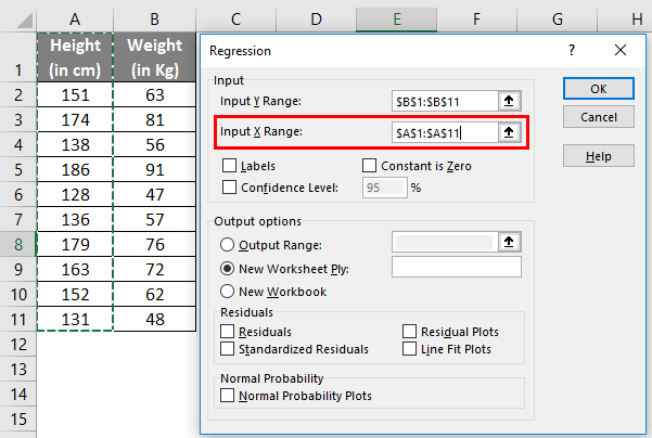 Input X Range