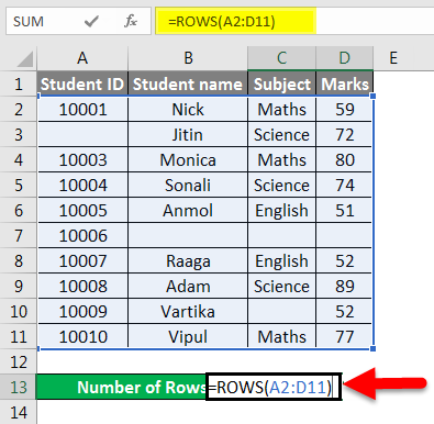 Row count example 2-2