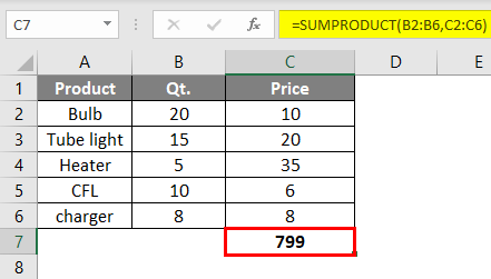 SUMPRODUCT Formula Example 2-3