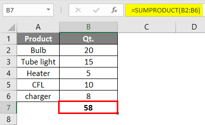 SUMPRODUCT Formula Example 2-5