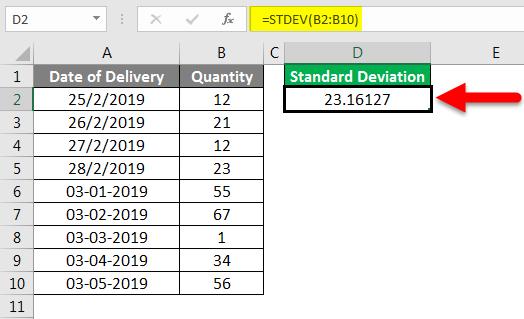 Standard Deviation Formula example 1-5